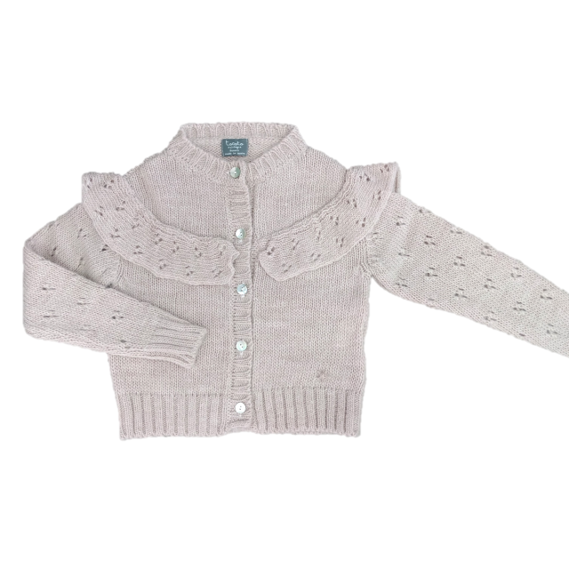 chaqueta punto volante & calados ROSA 01